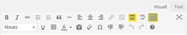 Kommandoleiste des WordPress-Editors