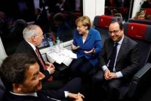 Renzi, Schneider-Ammann, Merkel und der franz. Präsident im Gotthard